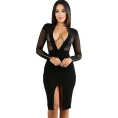Shop for fashion black l Women Mesh Accent Dress Deep V-neck Long Sleeve Winter Autumn Club Sexy Sheer Pinstripe Bodycon Dress Black from Tomtop.com with the lowest price of Dresses online, various discounts are waiting for you