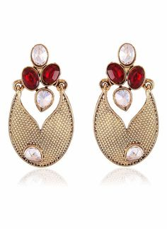 Red, Beige & Gold Artificial Jewellery Earrings