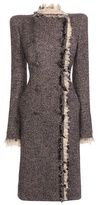 Alexander McQueen-frayed chevron tweed coat