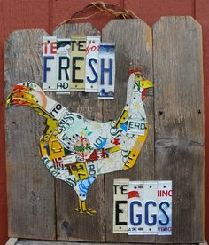 Fresh Eggs Chicken License Plate Art Sign by dables on Etsy, $65.00