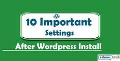 10 settings after wordprss install