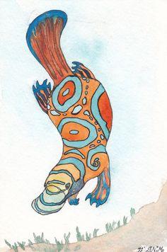 Mandarinfish Platypus by keikomoondragon on Etsy Australian Flowers, Australian Animals, Baby Platypus, Different Art Styles, Wombat, Aboriginal Art, Pictures To Draw, Medium Art, Wallpaper Quotes