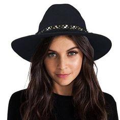 4406fdd8e7f Black wide brim fedora hat with fringe for women winter wool felt hats