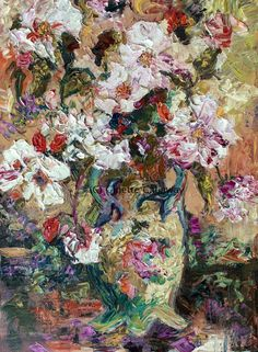 #Tea #Roses #Impressionist #Still #Life #Original #Oil #Painting by #Ginette #Callaway