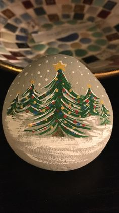 Painted rock Christmas trees