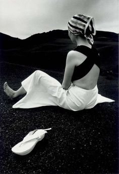 Akiko on the Black Lava of Hawaii, 1965byHiro Vintage Love, Vintage Beauty, Retro Vintage, 1960s Fashion, Vintage Fashion, February 10, White Fashion, Catwalk, Vintage Outfits