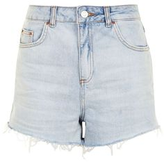 TopShop Moto Highwaisted Mom Shorts (1.030 ARS) ❤ liked on Polyvore featuring shorts, bottoms, topshop, bleach denim, denim shorts, high-waisted jean shorts, jean shorts, short jean shorts and high-rise shorts