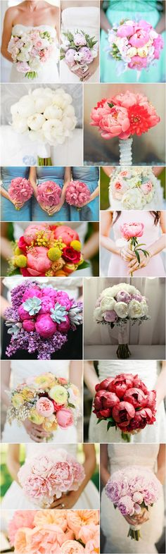 peony bouquet & and wedding table decoration with peony