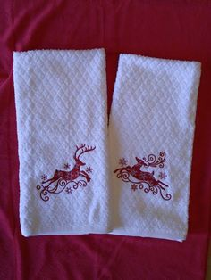 Reindeer Embroidered Towels. https://www.facebook.com/groups/hoodedcreations/