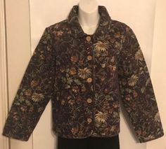 COLDWATER-CREEK-Floral-Cotton-Blend-Button-Front-Tapestry-Jacket-Size-M