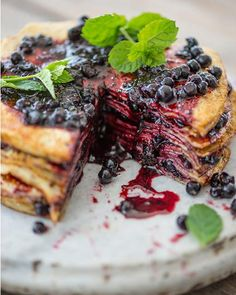 Paul's take on a traditional pancake cake using blueberry jam as the filling.