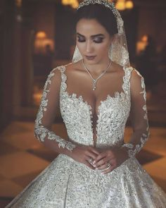 Long Sleeves Arabic Wedding Dresses With Long Train Robe De Mariee Sexy Sheer Neck Lace Appliqued Beaded Wedding Gowns Arabic Wedding Dresses, Beaded Wedding Gowns, Arab Wedding, Dream Wedding Dresses, Bridal Dresses, Lebanese Wedding Dress, Prom Dresses, Wedding Bride, Church Wedding