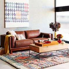 living room inspiration, west elm brown leather sofa