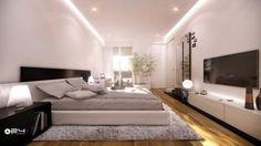 belle chambre à coucher avec des plantes