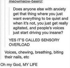I hate this anxiety sensory overload Mbti, Sensory Overload, Memes, Haha, Stress, Understanding Anxiety, Social Anxiety, Anxiety Help, Describe Me
