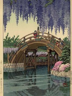 """""""Wisteria at Kameido"""" (亀戸の藤) ・ by Kawase Hasui ・ Date: May 1932 ー Completion Date: 1933 ・ --------------------------------------------------------------- A """"chuban-sized"""" print of densely flowering purple wisteria.    中村葵大BLOG: 川瀬巴水に惚れた"""
