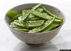 Snow Peas With Toasted Sesame Seeds