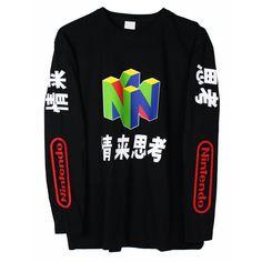 09834b587e2b Amazon.com  N64 Japanese Long Sleeve T-Shirt  Clothing Vaporwave Shirt