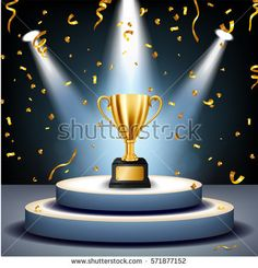 Realistic Golden Trophy on stage with golden confetti falling and illuminated spotlights, Vector Illustration