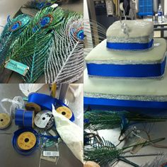 Wedding cake with silver and blue ribbons; and peacock feathers.  #DIY #Lexescence