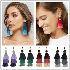 Women Three Layered Tassel Earrings Triple Tiered Fringe Drop Earrings Jewelry