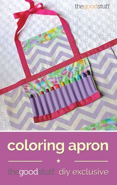 Perfect as an Easter gift, birthday gift or an any-day surprise, this coloring apron can be made with scraps of fabric and customized to your child's favorite colors! Tuck crayons or baking utensils into the pouch pocket to complete the gift!