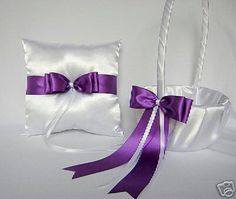 Wedding Accessories Purple Flower Girl Basket Ring Bearer Pillow Your Colors | eBay