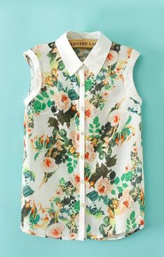 Floral Print Lapel Sleeveless Blouse