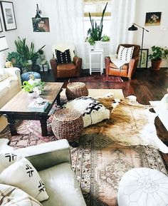 Awesome boho living room with the layered rugs! Boho Living Room, Home And Living, Living Room Decor, Boho Room, Small Living, Cow Hide Rug Living Room, Living Room Accent Chairs, Living Spaces Rugs, Rv Living