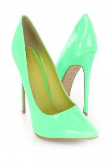 Neon Green Pointed Toe Single Sole Pump Heels Patent