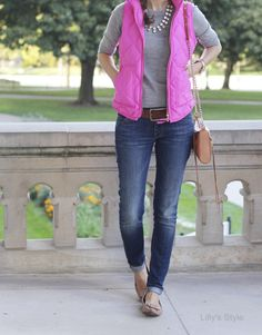 Lilly's Style: pop of pink - skinny jeans, grey sweater, pink vest, sparkle necklace