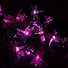 30 Pink LED Solar Dragonfly Lights