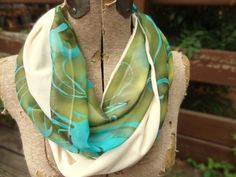 Green/blue & ivory infinity scarf - one of a kind! by PaleDesign, $25.00