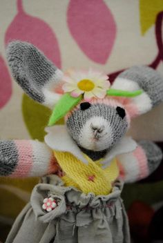 "Rita the Rabbit. Handmade from a single glove! From my collection ""Love from a glove"" Koi, Glove, Rabbit, Handmade, Crafts, Collection, Bunny, Rabbits, Manualidades"