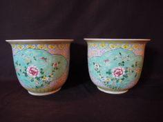 BK 2-237 12''H 10.5''diam. Pair of Chinese porcelain cache pots.