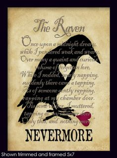 Nevermore, The Raven, 8x10 print, Poe, poetry, literature, goth, macabre decor, Halloween. $12.50, via Etsy.