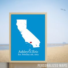 Where we met map! Personalized anniversary gift for travel couples!  #personalizedmaps #giftforcouples #travelers #creativestudio #printshop #anniversarygift #giftideas #ourlostory #whereourlovehastraveled #travel #lifestyle #nomads #california #beach #summertime