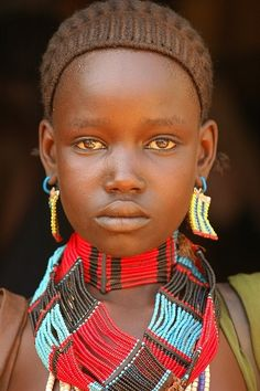 Africa |  Portrait of a Banna girl. Southern Ethiopia |