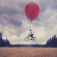 ...he pedaled through the clouds.