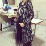 Siyah Gri Uzun Abiye Ceket