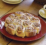 Fastest Cinnamon Buns -- biscuit dough, enhanced w/ cottage cheese for tenderness, is the key to this quicker alternative to traditional yeast-raised cinnamon rolls. [] Fine Cooking recipe *~* want to try biscuit dough plain . maybe ½ cinnamon buns, ½ p Cinnamon Bun Recipe, Cinnamon Rolls, Cinnamon Bread, Scones, Fine Cooking Recipes, Cooking Tools, Baked Goods, The Best, Food Processor Recipes
