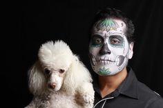 Dia de Los Muertos with Gracie the poodle, make up by Elvia Olivarria Torres