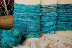 Teal Sari Silk Ribbon by SteamTrunkCraftWorks on Etsy, $5.50