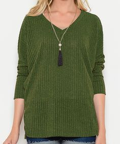 Another great find on #zulily! Ces femme Olive Ribbed Pullover Sweater by Ces femme #zulilyfinds