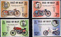 motorbikes on postage stamp