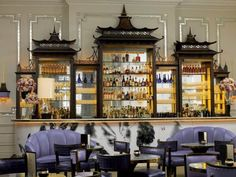 Pagodas and Lavendar at the Langham Hotel bar in London