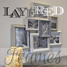 Layered frames made from old frames, painted with shades of white,filled with black and white photos, then hot glued together in a layered frames style.