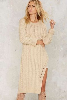 JOA J.O.A.Rutherford Cableknit Sweater Dress