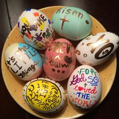 Easter eggs hand decorated with random quotes and bible verses using Sharpie markers and gold gilding paint. Yes, I made these...I'm actually pretty proud of myself! #quotes #easter #holiday #decorate