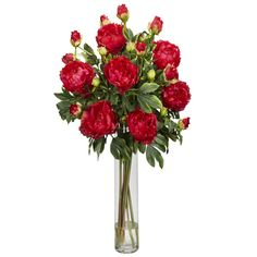 Features:  -Look just like fresh cut.  -Add some personality to any room.  -Cloud of patterned green leaves.  Product Type: -Floral Arrangements.  Color: -Reds.  Size: -Large.  Flower: -Peonies.  Cont